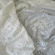 """Antique Creamy French NORMANDY LACE Bed Cover 98"""" X 79"""" * Embroidered FLOWERS"""