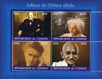 Congo 2018 CTO Gandhi Einstein Winston Churchill Marie Curie 4v M/S II Stamps