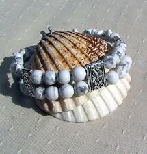 "White Howlite Gemstone Crystal Bracelet ""Winter Dawn"""