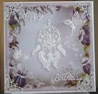 HANDMADE FANTASY PAGAN CELESTIAL BIRTHDAY CARD A DREAM CATCHER IN WHITE DESIGN