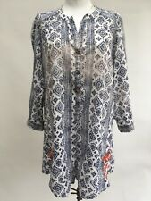 Lucky Brand Romper White Blue Geometric Pattern Cotton 3/4 Sleeves Beach Cover M