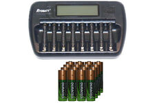 8 Bay AA / AAA LCD Battery Charger + 16-Pack AA 2450 mAh Duracell NiMH Batteries