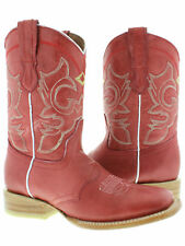 Womens Red Plain Leather Western Cowgirl Boots Mid Calf Casual Square Toe