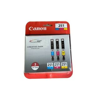 Canon CLI-251 Multicolor 3 Ink Cartridges Cyan Magenta Yellow New Sealed OEM