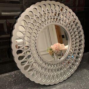 Round Moroccan Style All Mirror Art Deco Silver Metallic Look Round Wall Mirror