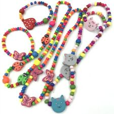 1sets Wooden Beaded cute Animal Bead Necklace bracelet kids gift party supply