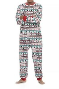 ADULT ONE PIECE PJ's Fleece Jammies for Families Men Size Large Fair isle White
