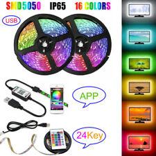 1M-5M 5050 RGB LED Strip Light TV Backlight 5V USB Changing  APP/24Key IR Remote
