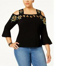 INC Woman's Plus 3X Cold Shoulder Black Sweater Embroidery Flowers Night Rider