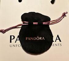 PANDORA CHARM GIFT BAG BLACK POUCH  85mm x 70mm DRAW STRING