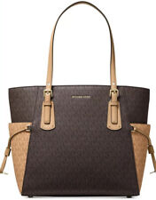 New Michael Kors Signature mono MK Voyager East West Tote brown gold bag