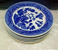 "Blue Willow Set of 8 Saucers Made in Japan Blue Birds 6"" Diameter"