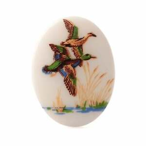 Vintage Limoges style porcelain picture cabochon flying ducks 40x30mm
