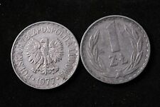 Poland Polish 1 Zloty Zlotych 1977 Republic Coin zł Communist Circulated