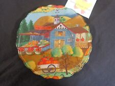"""Decorative Collectible Plate Country Store Autumn Harvest 9"""" Glass"""