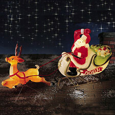 """CHRISTMAS LIGHTED SANTA CLAUS SLEIGH REINDEER DEER BLOW MOLD FIGURE YARD SET 72"""""""