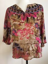 CHICOS Floral/Feather Top-Tunic, Adorned With Crystals And Beads, 0, EUC
