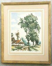 ROGER HEBBELINCK Antique Vintage Aquatint Colored Etching Landscape Signed /350