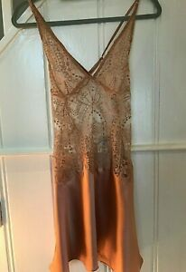 BNWT I D SARRIERI DESIGNER CHEMISE MINI SLIP DRESS ROSE GOLD LACE UK 8 - 10(SM)