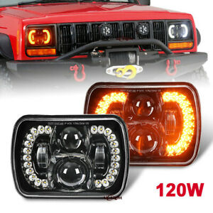 """Pair 120W 7x6"""" 5x7 Led Headlight Halo DRL Turn Signal for Jeep Chevy Dodge Truck"""
