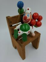 Vintage Wood Wooden Clown Balloons Hat Christmas Tree Ornament Red Green White