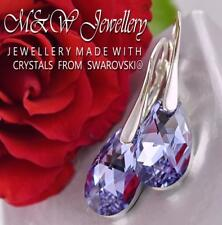 925 Silver Earrings Crystals From Swarovski® PEAR/ALMOND Violet Cal 16mm