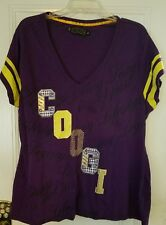 COOGI Shirt Purple Yellow Stripe Tunic Retro Embroidered Logo Hip Hop Plus Sz 3X