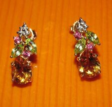 BEAUTIFUL SECONDHAND QVC 9tGOLD CITRINE GARNET PERIDOT EARRINGS FOR PIERCED EARS