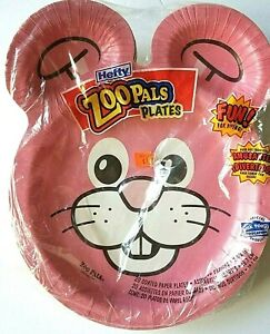 Hefty Zoo Pals Plates 20 Coated Paper Plates 2003 Variety Pack Bunny New in Pack