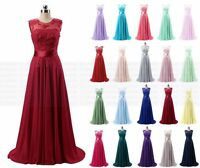 Long Chiffon Lace Evening Formal Party Ball Gown Bridesmaid Prom Dress Size 6~18