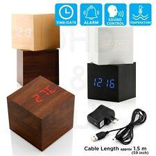 Reloj Despertador nuevo Moderno De Madera Madera LED Digital Termómetro Temporizador Calendario De Escritorio