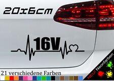 Herzschlag 16V Aufkleber Tuning Zylinder Sticker JDM GSI Turbo TDI GT ECO 20x7cm