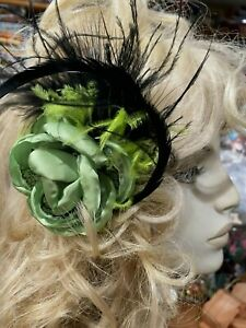 "New Millinery Flower 3.5"" Silk Netting Feathers 1pc Mint Green & Black Clip"