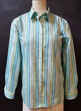 Foxcroft  Shirt Size 12  Turquoise Striped  Wrinkle Free Classic Fit  Casual