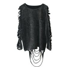 Vintage Gothic Punk Frazzle Long Sleeve Hollow Out Black T shirt With Tassels