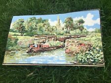 VINTAGE TAPESTRY EMBROIDERY PICTURE STRATFORD LOCK CANAL BOAT BARGE COMPLETE