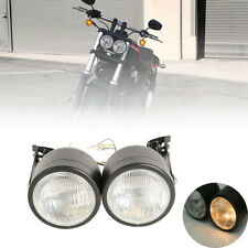 Motorcycle Dual Twin Front Headlight & Bracket For Harley Sport Street Fighter