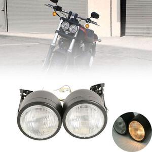 Dual Twin Front Headlight Bracket Fit For Sport Dirt Bike Harley Fat Boy Softail