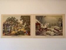 Currier And Ives 2 Prints USA 9X12 A Home In The Country & Winter Morning