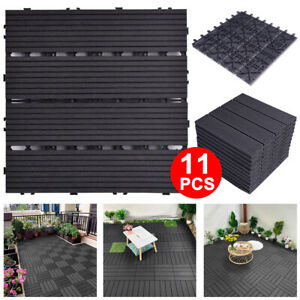 11Pcs Decking Tile Plastic Wpc Garden Floor Interlocking Patio Composite 30x30CM