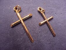 Lot 2 Vermeil Gold over Sterling Silver Cross Pendant Defective (33mm & 26mm) 4g