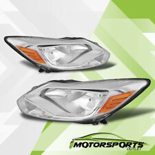 2012 2013 2014 Ford Focus Black Factory Style Chrome Headlights Head Lamps Pair