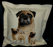 Hand crafted Pugs cushion cover