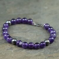 "7"", Mexico Sterling Silver Handmade Bead Bracelet, 925 silver N Amethyst beads"