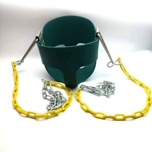 High Back Green Full Bucket Swing Seat 6mo - 4yrs Coated Chains Fully Assembled