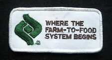 """WHERE THE FARM TO FOOD SYSTEM BEGINS EMBROIDERED PATCH UNIFORM 4 1/4"""" x 2"""""""