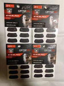 LOT OF 4- Ortiz 34 Eyeblack Strips Anti Glare Face Application 96 PAIRS TOTAL