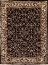 9x12 All-Over BLACK Floral Traditional Agra Oriental Area Rug Hand-Knotted Wool