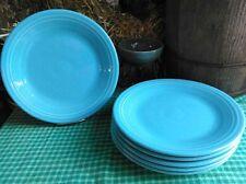 "set lot 6 DINNER PLATES turquoise blue HOMER LAUGHLIN FIESTA WARE 10.5"" NEW"