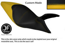 YELLOW AND BLACK VINYL CUSTOM FITS BENELLI TRE K 1130 AMAZONAS DUAL SEAT COVER